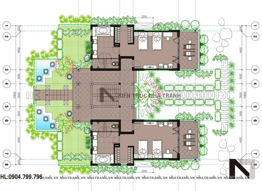 Ảnh: Mặt bằng quy hoạch tổng thể mẫu biệt thự sân vườn 2 tầng hiện đại NT-B6343