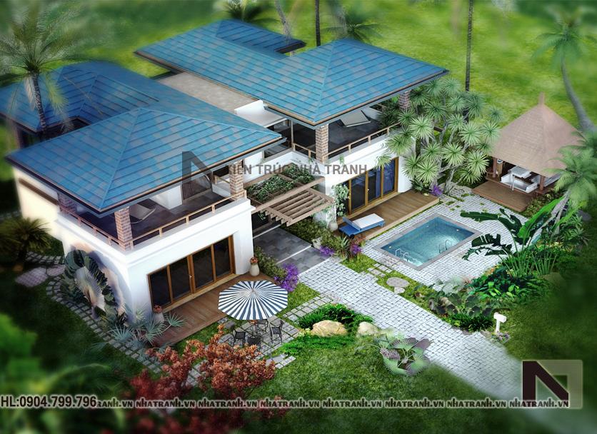 Ảnh: Phối cảnh tổng thể mẫu nhà vườn 2 tầng hiện đại NT-B6341