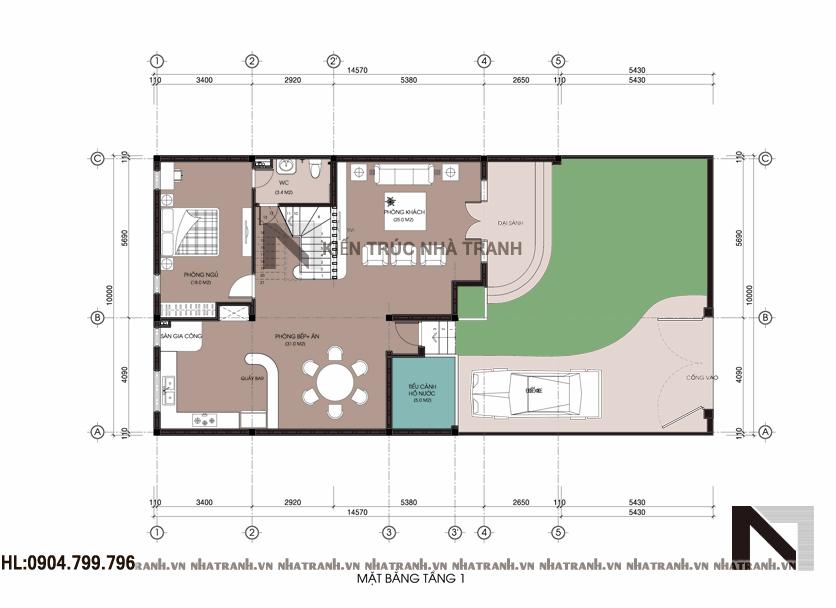 Mặt bằng quy hoạch tổng thể khuôn viên biệt thự phố mặt tiền 10m NT-B6372