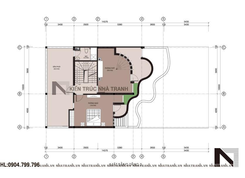 mặt bằng tầng 3 công trình biệt thự phố mặt tiền 10m NT-B6372
