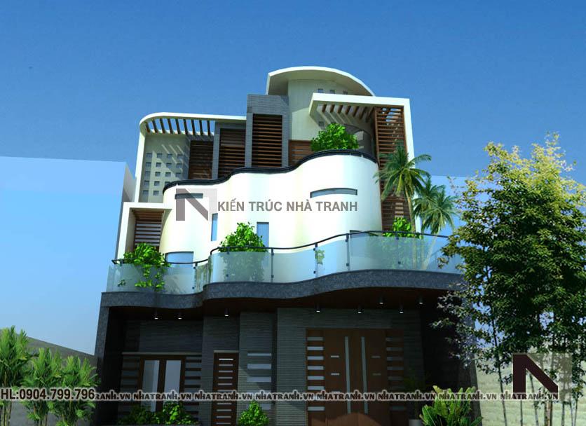 Phối cảnh tổng thể công trình biệt thự phố mặt tiền 10m NT-B6372
