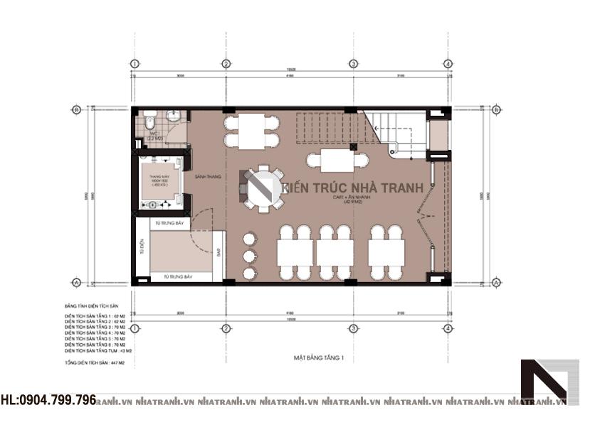Thiết kế nhà lô 6 tầng phong cách hiện đại-mbt1