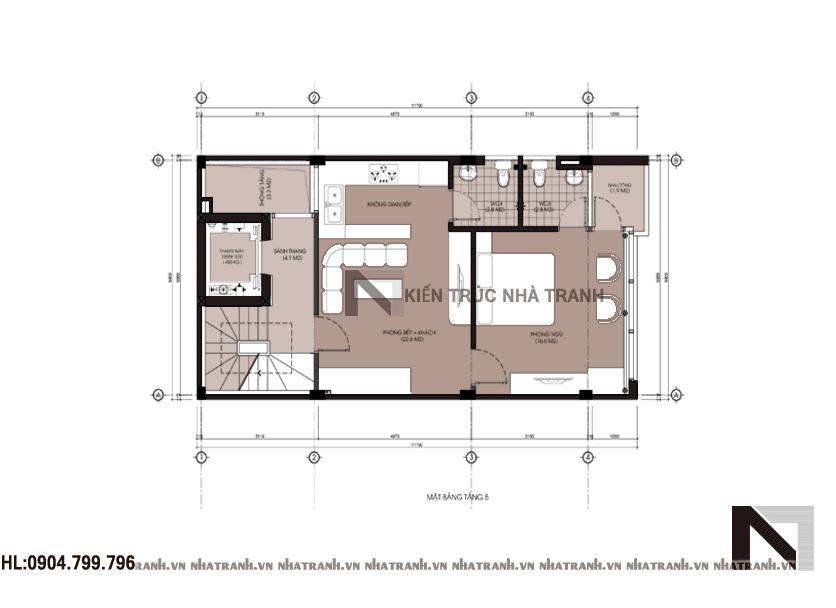 Thiết kế nhà lô 6 tầng phong cách hiện đại-mbt3