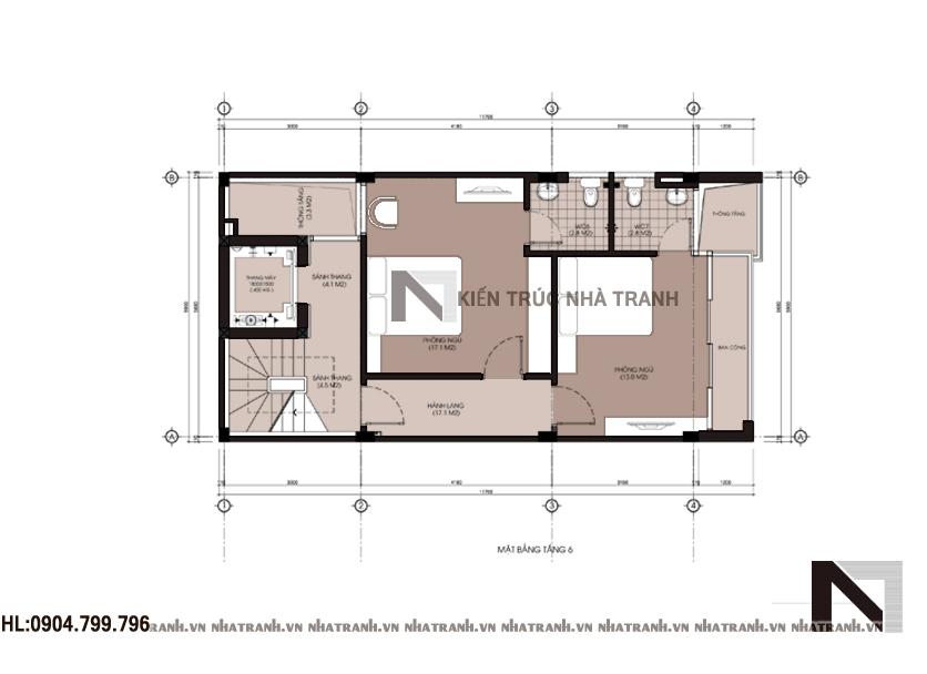 Thiết kế nhà lô 6 tầng phong cách hiện đại-mbt4