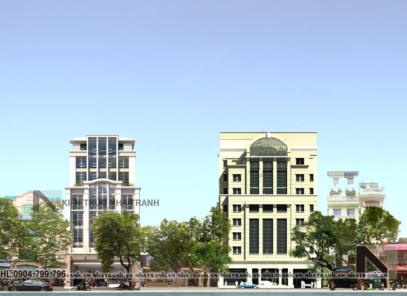 Mẫu thiết kế tòa nhà văn phòng 9 tầng phong cách hiện đại