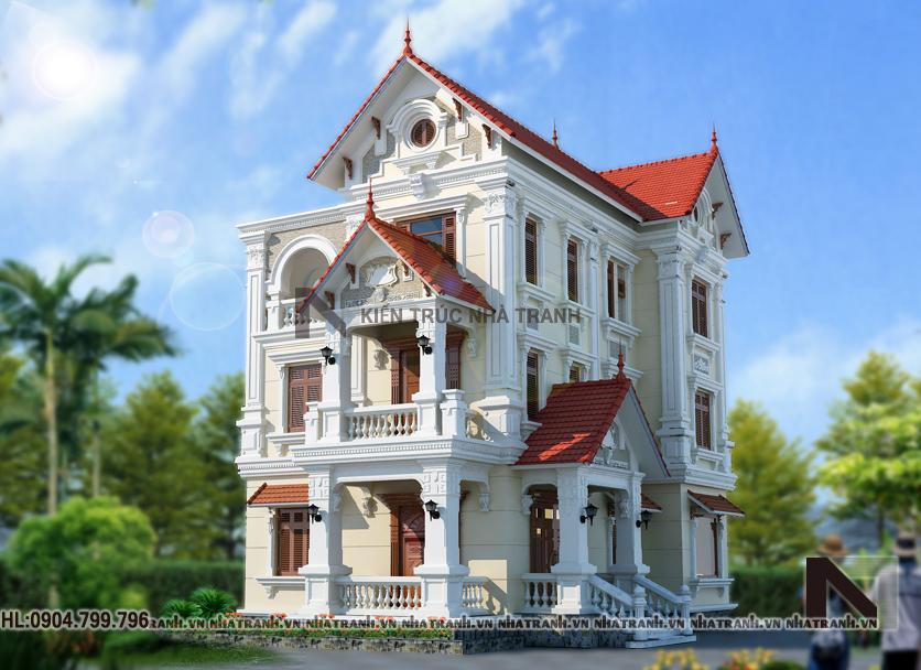 Thiết kế biệt thự 3 tầng phong cách cổ điển-pc01-2