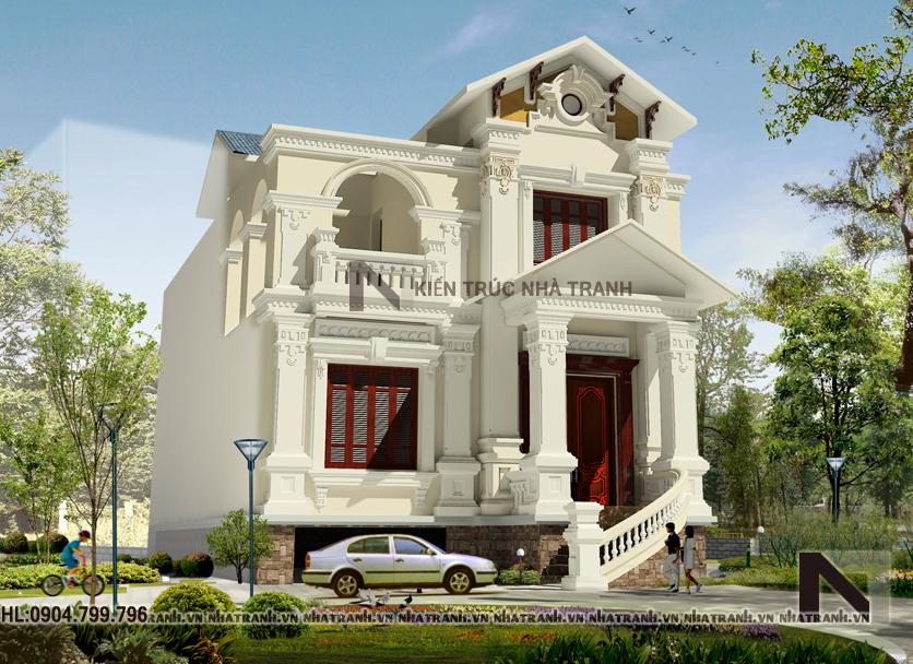 Thiết kế biệt thự 2 tầng phong cách cổ điển-pc01
