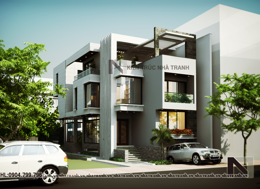Thiết kế biệt thự 3 tầng phong cách hiện đại-pc01-3