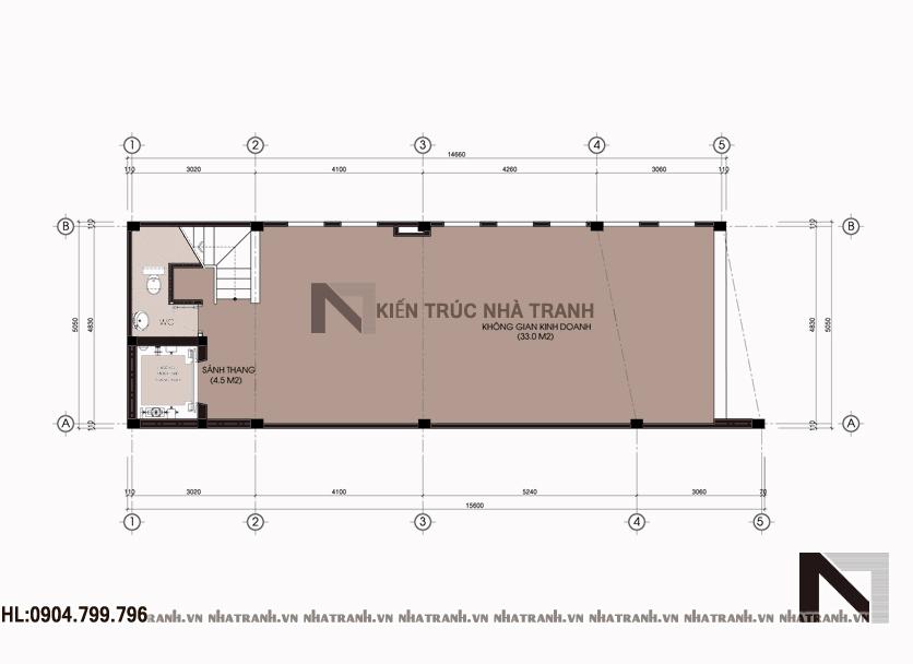 Ảnh: Mặt bằng tầng 1 nhà mặt tiền chéo 7 tầng phong cách hiện đại NT-L3647