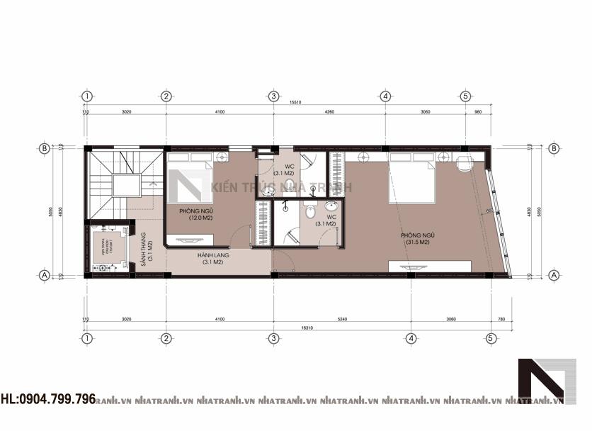 Ảnh: Mặt bằng tầng 3,4,5,6,7 nhà mặt tiền chéo 7 tầng phong cách hiện đại NT-L3647