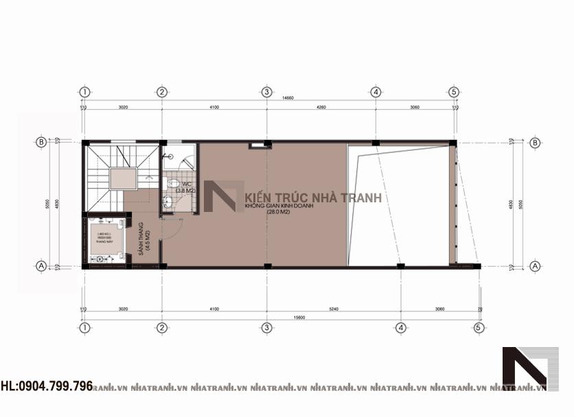 Ảnh: Mặt bằng tầng lửng nhà mặt tiền chéo 7 tầng phong cách hiện đại NT-L3647
