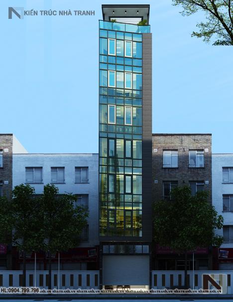 Ảnh: Phối cảnh tổng thể nhà mặt tiền chéo 7 tầng phong cách hiện đại NT-L3647
