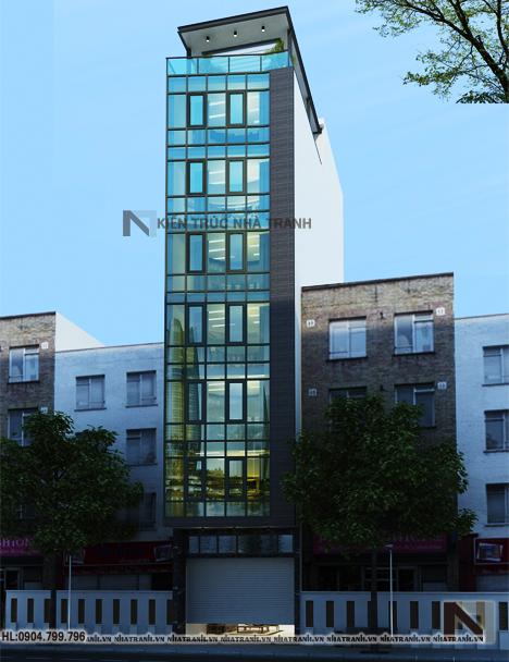 Ảnh: Phối cảnh tổng thể nhà mặt tiền chéo 7 tầng phong cách hiện đại