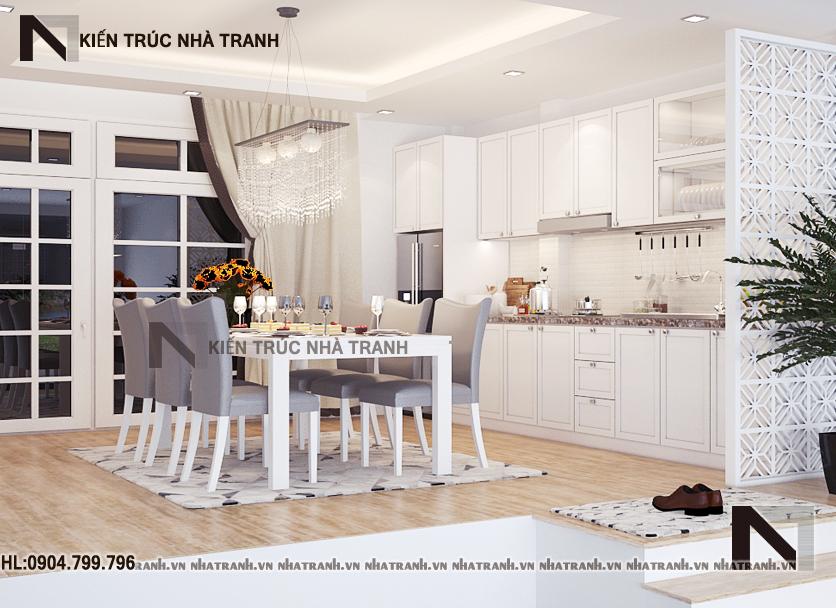 Nội thất phòng bếp ăn mẫu nhà lô phố cổ điển 4 tầng NT-L3649