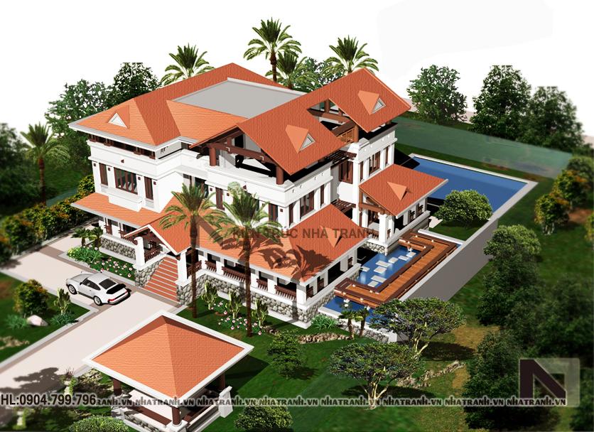 Ảnh: Mẫu thiết kế biệt thự cổ điển 3 tầng có sân vườn NT-B6322
