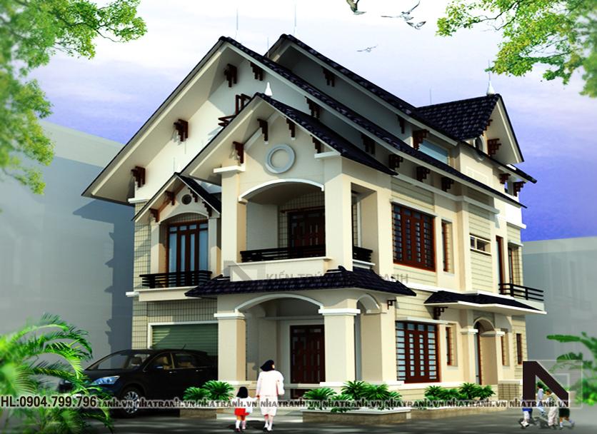 Ảnh: Mẫu thiết kế biệt thự cổ điển mái thái 3 tầng NT-B6326