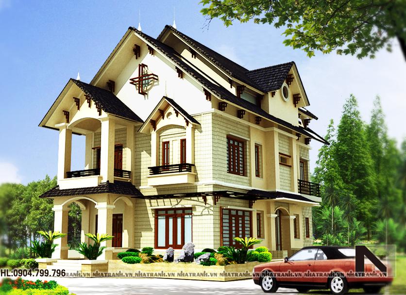 Ảnh: Mẫu thiết kế biệt thự cổ điển 3 mặt tiền 3 tầng NT-B6350