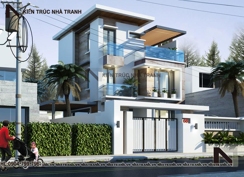 Ảnh: Mẫu thiết kế biệt thự hiện đại mái bằng 3 tầng NT-B6376