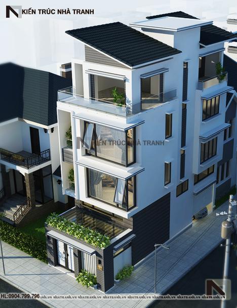 Ảnh: Mẫu thiết kế nhà lô góc 2 mặt tiền 4 tầng 1 lửng NT-L3650