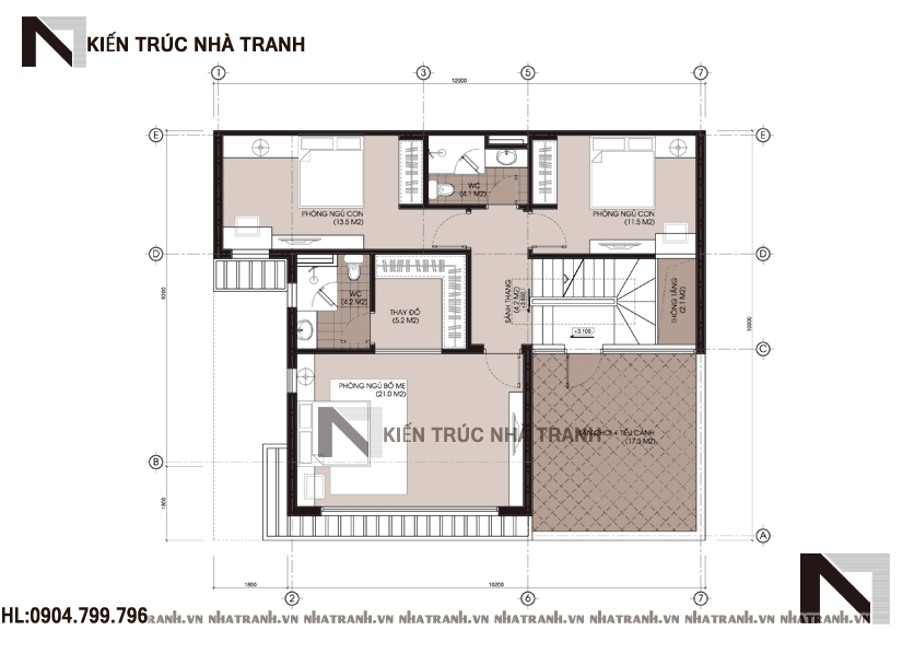 mẫu biệt thự 3 tầng hiện đại NT-B6374