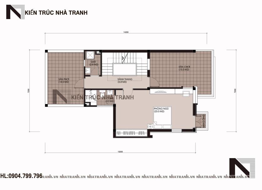 Mặt bằng tầng 3 mẫu biệt thự mái bằng hiện đại 3 tầng NT-B6376