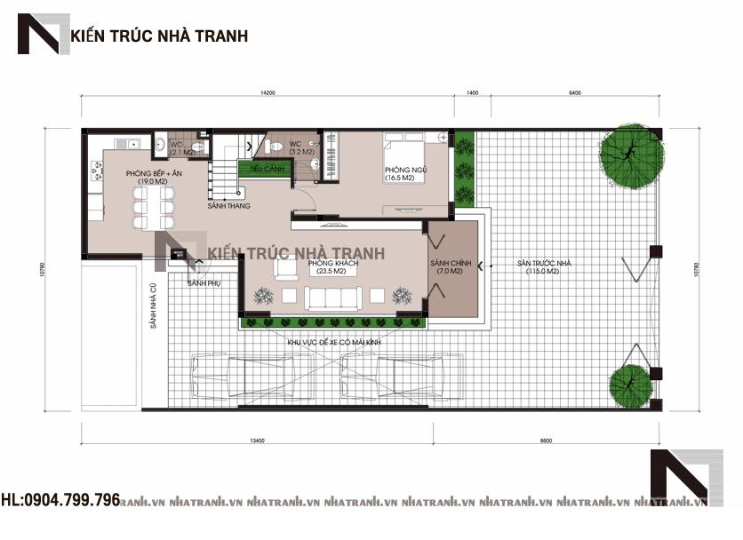 Mặt bằng quy hoạch tổng thể mẫu biệt thự mái bằng hiện đại 3 tầng NT-B6376