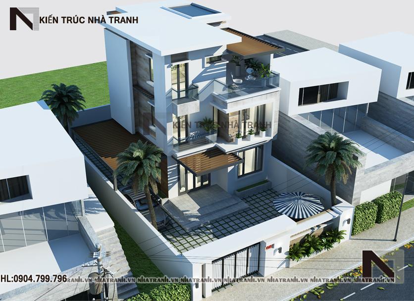 Phối cảnh tổng thể mẫu biệt thự mái bằng hiện đại 3 tầng NT-B6376
