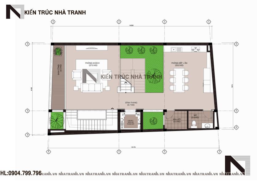 Mặt bằng tầng 2 mẫu thiết kế nhà phố mặt tiền hướng tây 6 tầng phong cách hiện đại NT-L3655
