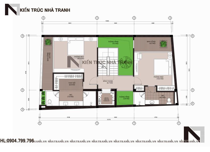 Mặt bằng tầng 3 mẫu thiết kế nhà phố mặt tiền hướng tây 6 tầng phong cách hiện đại NT-L3655