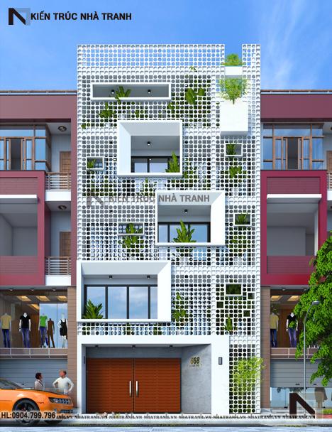 Phối cảnh tổng thể mẫu thiết kế nhà phố mặt tiền hướng tây 6 tầng phong cách hiện đại NT-L3655