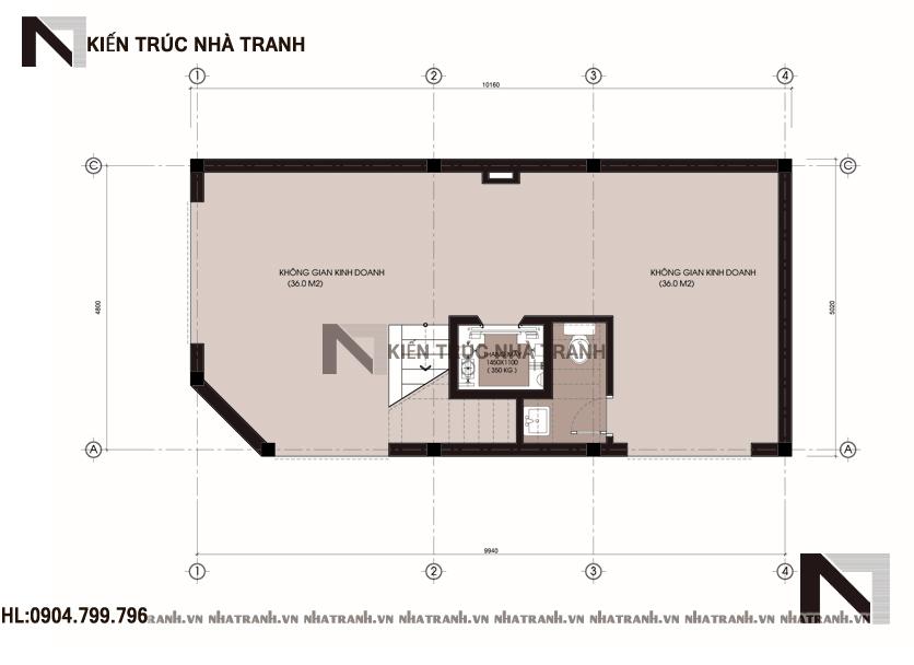 Mặt bằng tầng 1 mẫu nhà lô góc 2 mặt tiền 6 tầng phong cách hiện đại NT-L3654