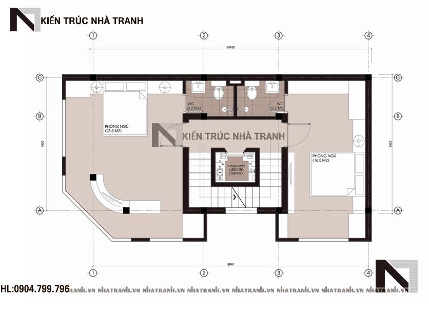 Mặt bằng tầng 2,3,4 mẫu nhà lô góc 2 mặt tiền 6 tầng phong cách hiện đại NT-L3654