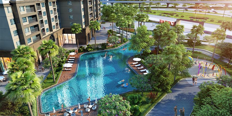 Ảnh: Phối cảnh tiện tích khu bể bơi dự án Vinhomes D'capitale Trần Duy Hưng