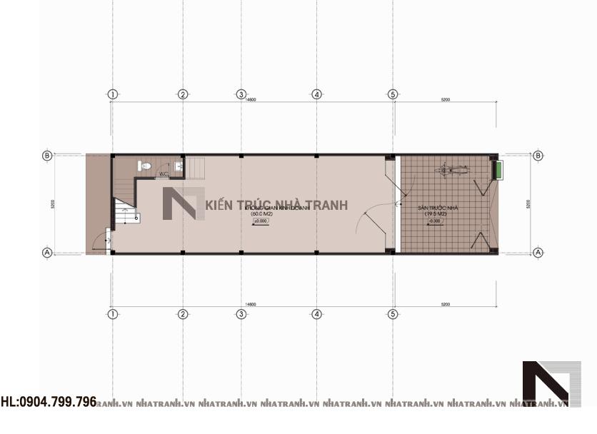 Mặt bằng chi tiết tầng điển hình mẫu nhà 4 tầng mặt phố mặt tiền 5m NT-L3656