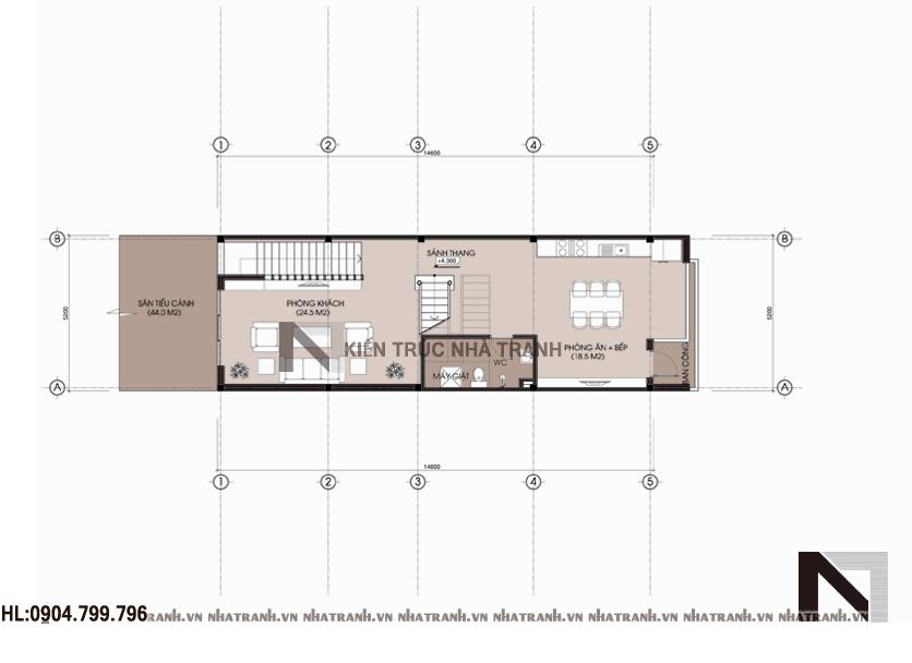 Mặt bằng tầng 2 mẫu nhà 4 tầng mặt phố mặt tiền 5m NT-L3656