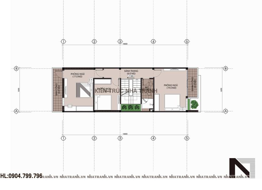 Mặt bằng tầng 3 mẫu nhà 4 tầng mặt phố mặt tiền 5m NT-L3656
