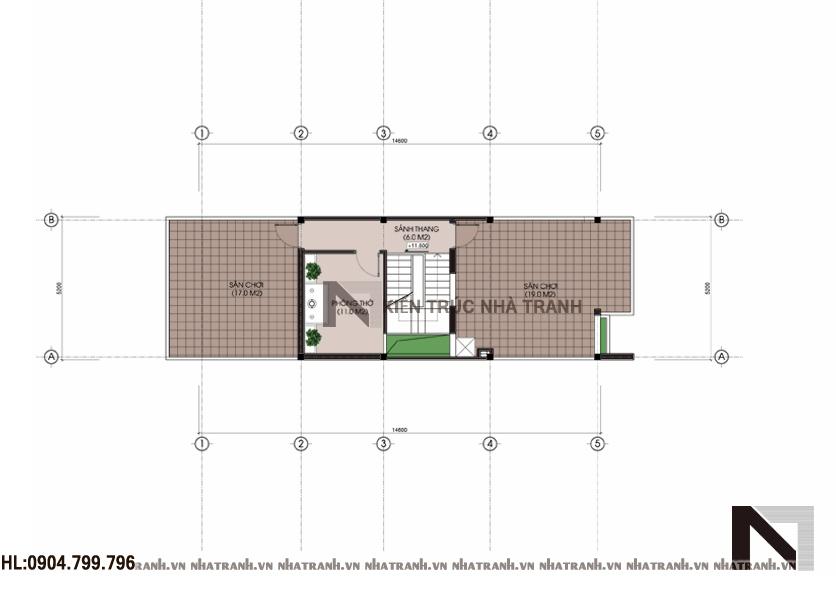 Mặt bằng tầng 4 mẫu nhà 4 tầng mặt phố mặt tiền 5m NT-L3656