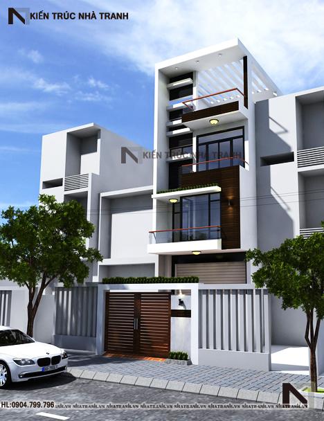 Phối cảnh tổng thể mẫu nhà 4 tầng mặt phố mặt tiền 5m NT-L3656