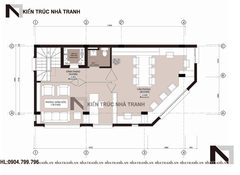 Mặt bằng tầng 2 mẫu nhà lô góc hai mặt tiền 5 tầng tân cổ điển NT-L3657