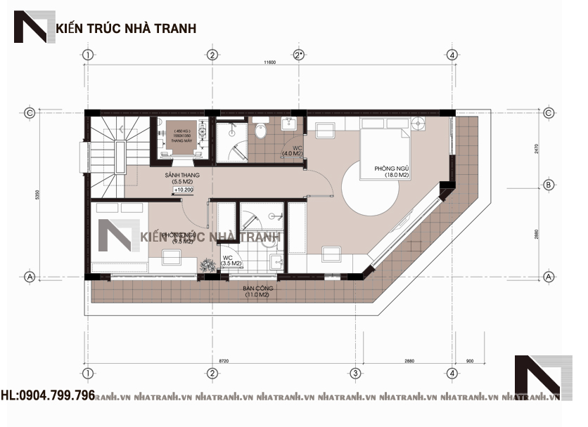 Mặt bằng tầng 4 mẫu nhà lô góc hai mặt tiền 5 tầng tân cổ điển NT-L3657