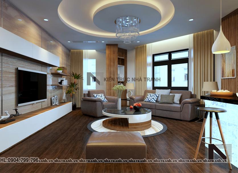 Phối cảnh nội thất không gian phòng khách, bếp, ăn mẫu nhà lô góc hai mặt tiền 5 tầng tân cổ điển NT-L3657