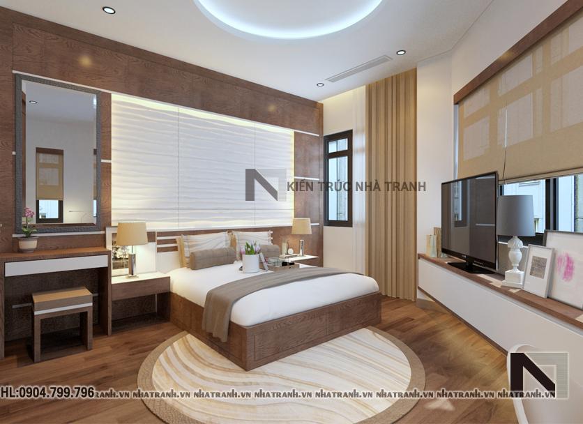 Phối cảnh nội thất không gian phòng ngủ master mẫu nhà lô góc hai mặt tiền 5 tầng tân cổ điển NT-L3657