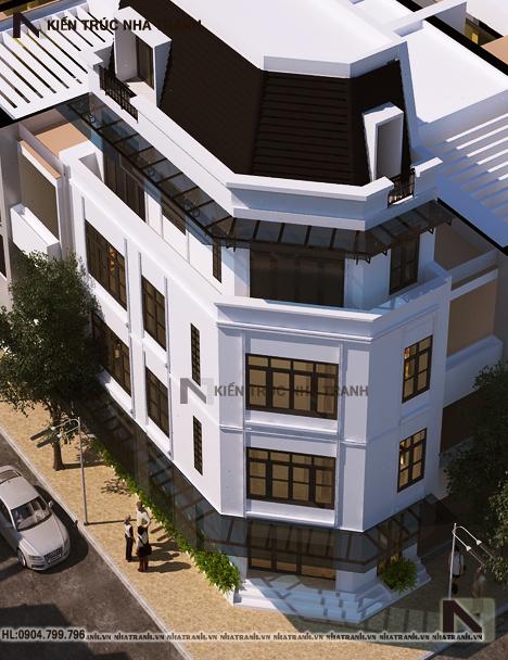 Phối cảnh tổng thể mẫu nhà lô góc hai mặt tiền 5 tầng tân cổ điển