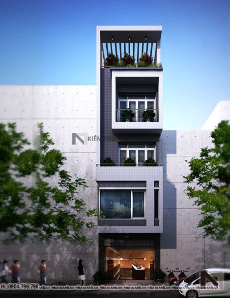 Ảnh: Phối cảnh tổng thể 01 ngoại thất mẫu nội thất nhà ống hiện đại 5 tầng NT-NL0051:
