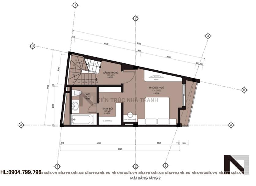 Ảnh: Mặt bằng chi tiết tầng điển hình mẫu thiết kế nhà trên đất méo 4 tầng NT-L3633