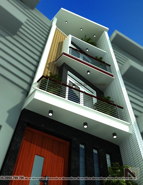 Ảnh: Phối cảnh tổng thể mẫu thiết kế nhà trên đất méo 4 tầng NT-L3633