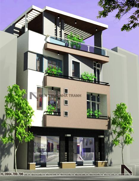 Ảnh: Phối cảnh tổng thể mẫu thiết kế nhà trên đất méo 4 tầng NT-L3645