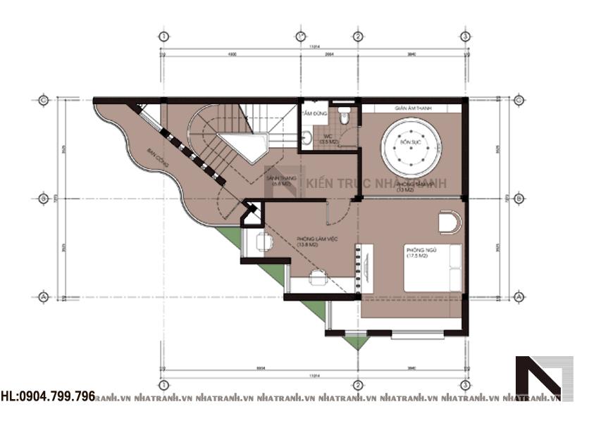 Ảnh: Mặt bằng chi tiết tầng điển hình mẫu thiết kế nhà trên đất méo 5 tầng NT-L3646