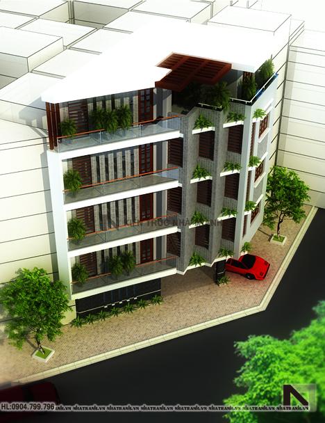 Ảnh: Phối cảnh tổng thể mẫu thiết kế nhà trên đất méo 5 tầng NT-L3646