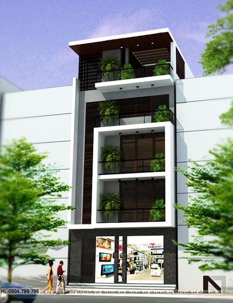 Ảnh: Mẫu thiết kế nhà ở kết hợp kinh doanh 5 tầng NT-L3620